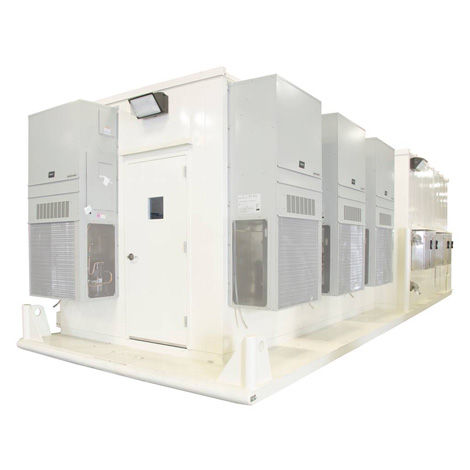 Portable e-house with variable frequency drives HVAC four external disconnects and two welder auxiliary receptacles